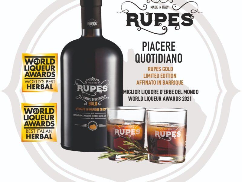 """Amaro """"Rupes Gold"""", miglior Liquore al Mondo 2021"""